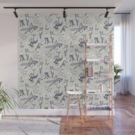 foxy circus indigo ivory Wall Mural