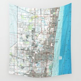 Fort Lauderdale Florida Map (1985) Wall Tapestry