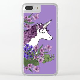 Unicorn in a Purple Garden Clear iPhone Case