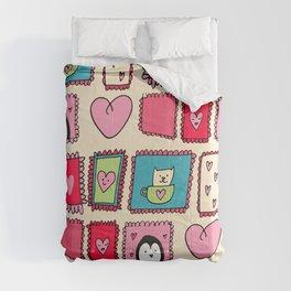 Valentines Cute Frames Beige #Valentines Comforters