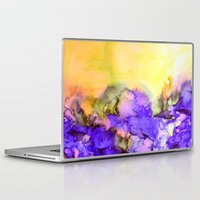 jazzberry Laptop & iPad Skins featuring INTO ETERNITY, YELLOW AND LAVENDER PURPLE Colorful Watercolor Painting Abstract Art Floral Landscape by EbiEmporium