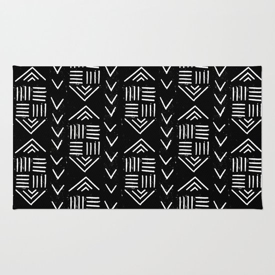 Minimalist Colorful Rug Designs: Mudcloth 6 Minimal Textured Black And White Pattern Home
