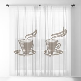 Steaming Cup of Coffee Sheer Curtain