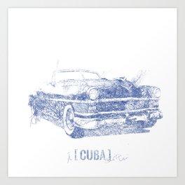 Hemingway's 1955 Chrysler (Biro Sketch)  Art Print