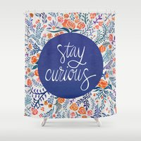 coral Shower Curtains featuring Stay Curious – Navy & Coral by Cat Coquillette