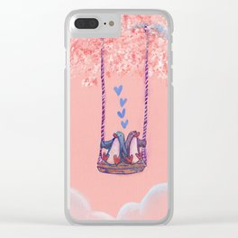 Penguins in Love on Their Tree Swing in a Pink Sky Clear iPhone Case
