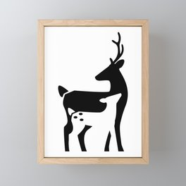 Stag and Fawn Framed Mini Art Print