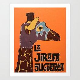 Luchamals Series- La Jirafa Juguetona Art Print