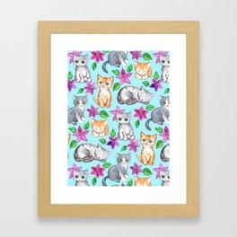 Kittens and Clematis - blue Framed Art Print