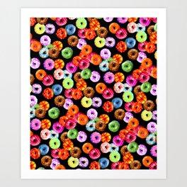 Multicolored Yummy Donuts Art Print