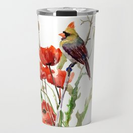 Cardinal Bird And Poppy Flowers Travel Mug