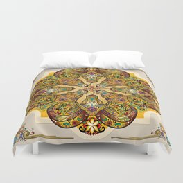 Mandala Sacred Rams - Bright Version Duvet Cover