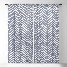 Boho Herringbone Pattern, Navy Blue and White Sheer Curtain