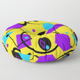 Retro abstract print yellow Floor Pillow