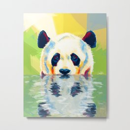 Panda taking a bath Metal Print