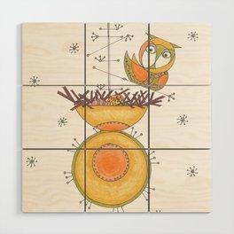 MidCentury Modern Whimsical Owl & Satellite Nest Wood Wall Art