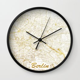 Berlin Map Gold Wall Clock