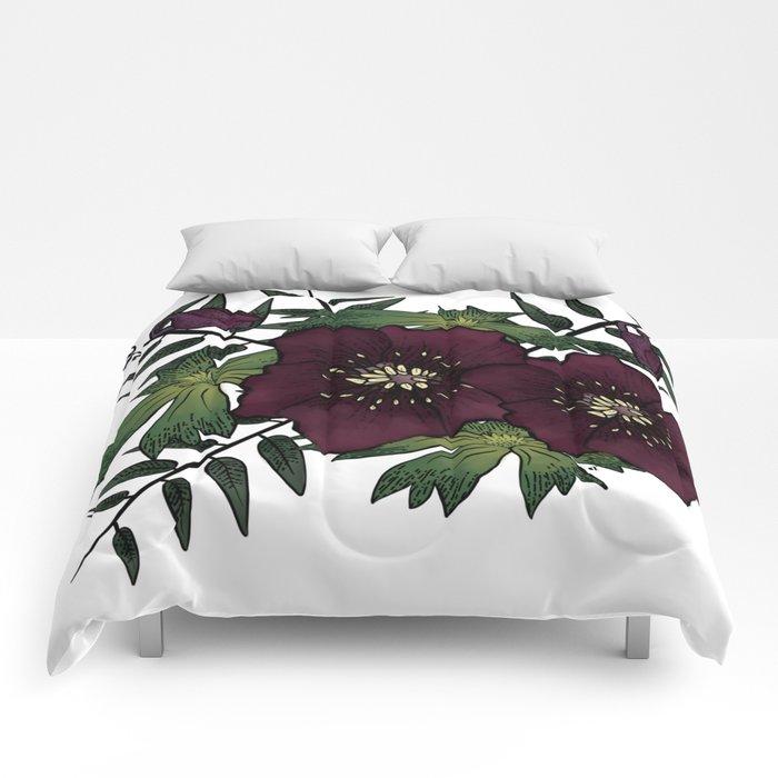 Winter Hellebore Blossoms Comforters