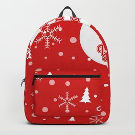 Happy holiday, Christmas sign with snow flake and christmas decoration Backpack