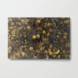 Gingergold Apples on Braches, Summer Harvest textile portrait painting print by Zinaida Serebriakova Metal Print