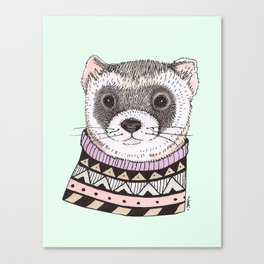 Hipster Ferret Canvas Print