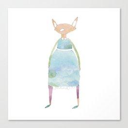 Girl Fox Friend in Dress Canvas Print