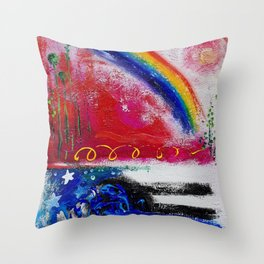 Sunrise and Rainbows over the River Throw Pillow