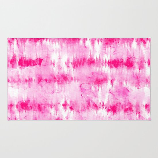 Boho Bright Hippie Neon Pink Tie Dye Stripes Pattern Hand