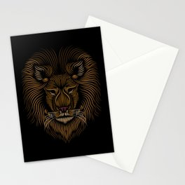 Lion Head - Line Art Grapic - Animal Drawing Stationery Cards