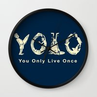 yolo Wall Clocks featuring YOLO by Coffee Man