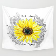Don't Worry, Be Happy Sunflower Wall Tapestry