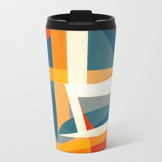 Geometric Joy Metal Travel Mug