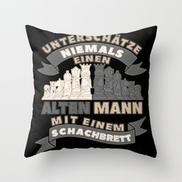 Old Man With Chess Board Throw Pillow