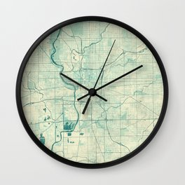 Indianapolis Map Blue Vintage Wall Clock