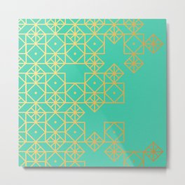 Geometric Turquoise Metal Print