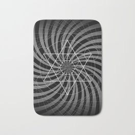 Metatron's Cube Grayscale Spiral of Light Bath Mat