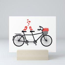 Cute birds on bicycle Mini Art Print