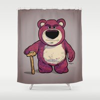 toy story Shower Curtains featuring Toy Story | Lots O' Huggin' Bear by Brave Tiger Designs