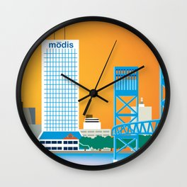 Jacksonville, Florida - Skyline Illustration by Loose Petals Wall Clock