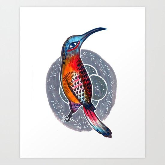 Hummingbird and Nest Art Print