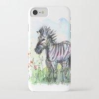 zebra iPhone & iPod Cases featuring Zebra by Olechka