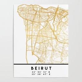 BEIRUT LEBANON CITY STREET MAP ART Poster