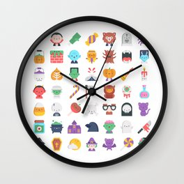 CUTE HALLOWEEN COSTUME FALL PATTERN Wall Clock