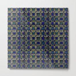 Mid Century Geometry Electric Blue Metal Print