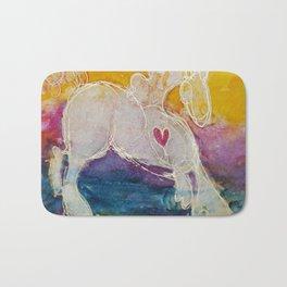 pink golden heart horse pony watercolor by CheyAnne Sexton Bath Mat