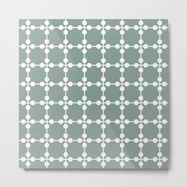 Droplets Pattern - White & Sage Green Metal Print