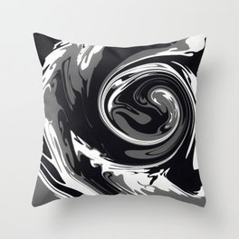 HURRICANE black white and grey swirl abstract design Throw Pillow