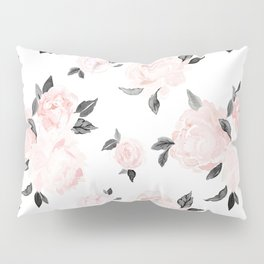 Vintage Blush Floral BW -medium Pillow Sham