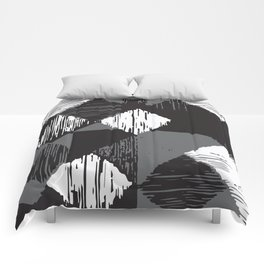 Rhomb - black, white & grey Comforters