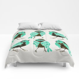 Turquoise Finches Comforters